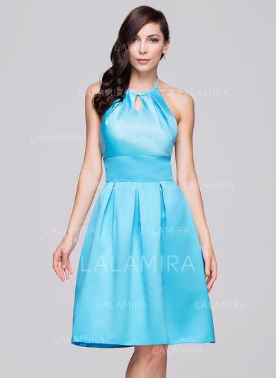 Halter A-Line/Princess Satin Sleeveless Bridesmaid Dresses (007198884)