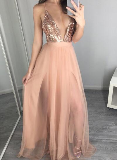 A-Line/Princess V-neck Floor-Length Evening Dresses (017145646)