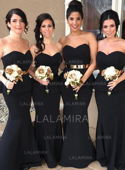 Trumpet/Mermaid Satin Bridesmaid Dresses Cascading Ruffles Sweetheart Sleeveless Floor-Length (007145184)