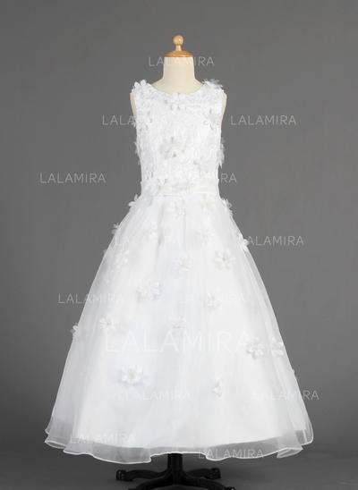 Simple A-Line/Princess Lace/Flower(s) Sleeveless Organza Flower Girl Dresses (010014616)