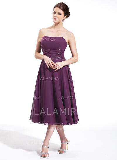 Empire Sweetheart Tea-Length Chiffon Bridesmaid Dress With Ruffle Beading (007026270)