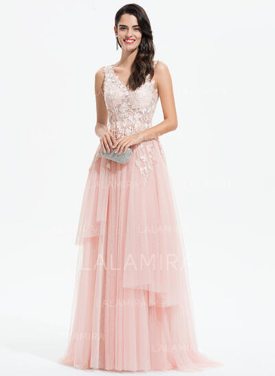 A-Line V-neck Sweep Train Tulle Prom Dresses With Lace (018175939)