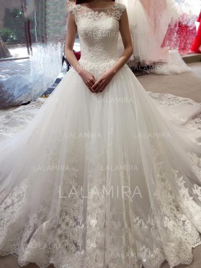 Ball-Gown Tulle Lace Sleeveless Scoop Royal Train Wedding Dresses (002144813)