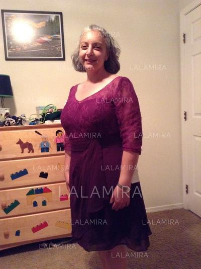 Corte A/Princesa Escote redondo Gasa Chic Vestidos de madrina (008212730)