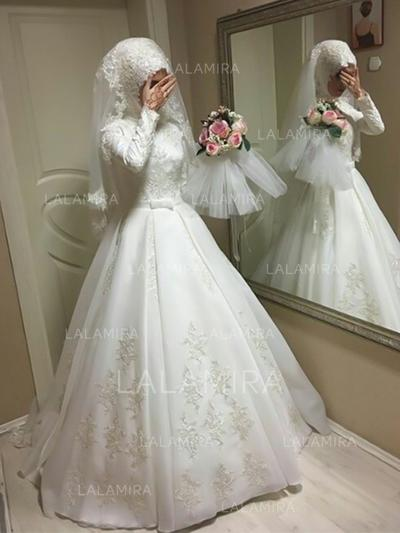 General Plus Ball-Gown Satin Princess Wedding Dresses With Long Sleeves (002217913)