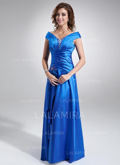 Slående Charmeuse Off-the-Shoulder A-formet/Prinsesse Kjoler til Brudens Mor (008006296)