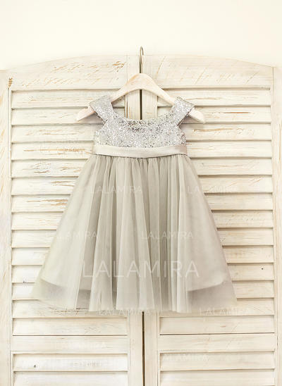Glamorous Straps Empire Flower Girl Dresses Knee-length Tulle/Sequined Sleeveless (010210127)