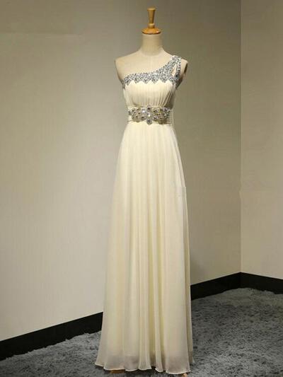 A-Line/Princess Floor-Length One-Shoulder Sleeveless Chiffon Bridesmaid Dresses (007211711)