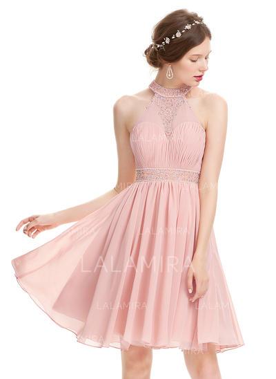 Tecido de seda Sem Alças Vestidos princesa/ Formato A Gola alta Vestidos de boas vindas (022214135)