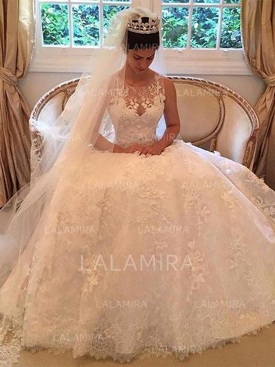 Court Train A-Line/Princess Delicate Tulle Wedding Dresses (002210846)