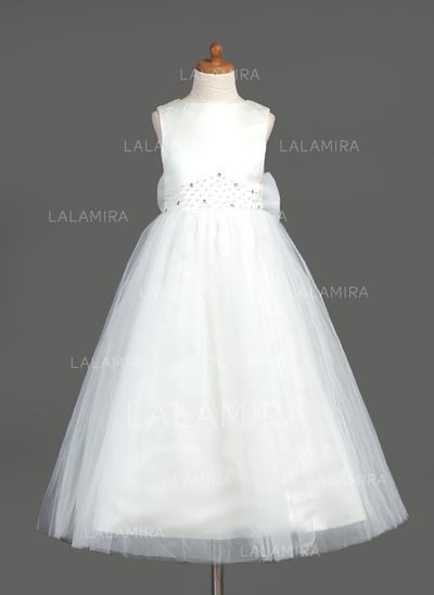 A-Line/Princess Ankle-length Organza/Satin/Tulle - Delicate Flower Girl Dresses (010005883)