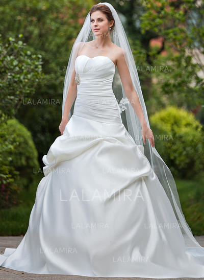 Cathedral Bridal Veils Tulle One-tier Drop Veil With Cut Edge Wedding Veils (006151024)