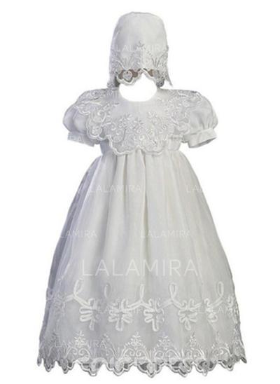 Tule Decote redondo Vestidos de batismo do bebê com Manga curta (2001217415)