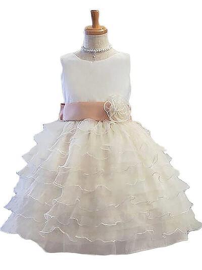 Scoop Neck Ball Gown Flower Girl Dresses Tulle Sash/Flower(s) Sleeveless Knee-length (010211790)