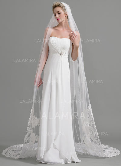 Cathedral Bridal Veils Tulle One-tier Oval/Drop Veil With Lace Applique Edge Wedding Veils (006151949)