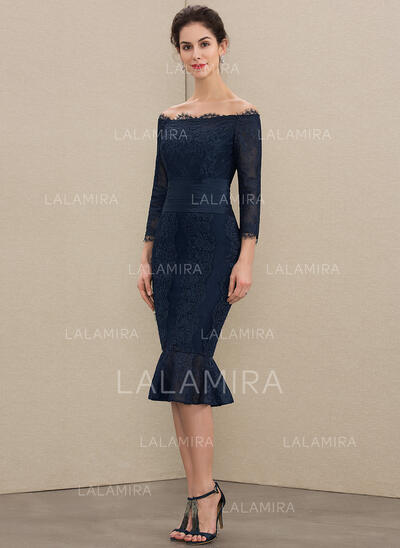 Trumpet/Mermaid Off-the-Shoulder Knee-Length Lace Mother of the Bride Dress (008179212)