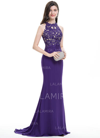 Trompete/Sereia Decote redondo Sweep/Brush trem Tecido de seda Vestido de baile (018112484)