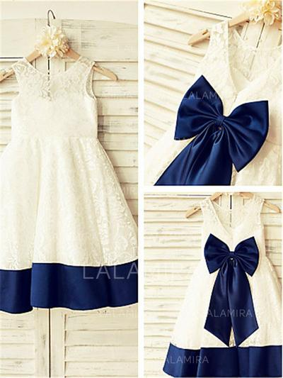 Scoop Neck A-Line/Princess Flower Girl Dresses Lace Bow(s) Sleeveless Knee-length (010211873)