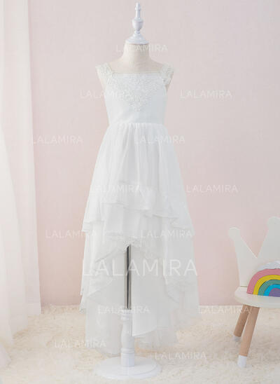 A-Line Asymmetrical Flower Girl Dress - Chiffon/Lace Sleeveless Square Neckline With Ruffles (010195363)
