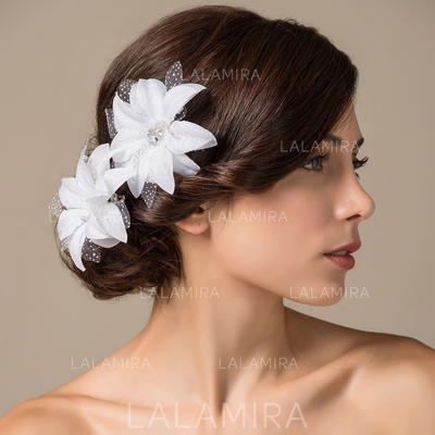 """Flowers & Feathers Wedding/Special Occasion Satin 3.94""""(Approx.10cm) 3.15""""(Approx.8cm) Headpieces (042153194)"""