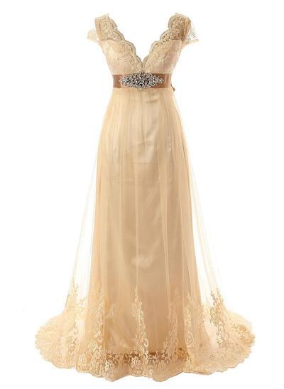 Short Sleeves Sleeves Tulle A-Line/Princess Wedding Dresses (002147818)