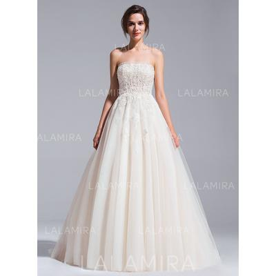 Strapless Ball-Gown Wedding Dresses Tulle Beading Appliques Lace Sequins Sleeveless Chapel Train (002071237)