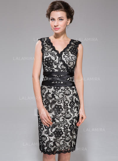 Sleeveless V-neck Stunning Charmeuse Lace Sheath/Column Cocktail Dresses (016211506)