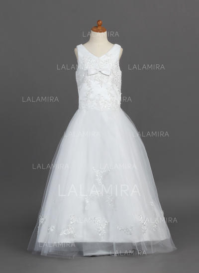 Floor-length V-neck Satin/Tulle Flower Girl Dresses With Lace/Bow(s) (010007487)