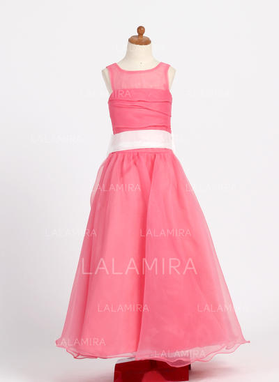 Floor-length Scoop Neck Taffeta/Organza Flower Girl Dresses With Ruffles/Sash/Bow(s) (010007718)