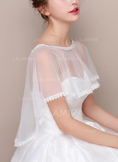Wrap Wedding Lace Tulle Sleeveless With Lace Wraps (013150185)
