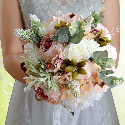 "Bridal Bouquets Round Wedding Satin/Silk 11.8""(Approx.30cm) Wedding Flowers (123189424)"