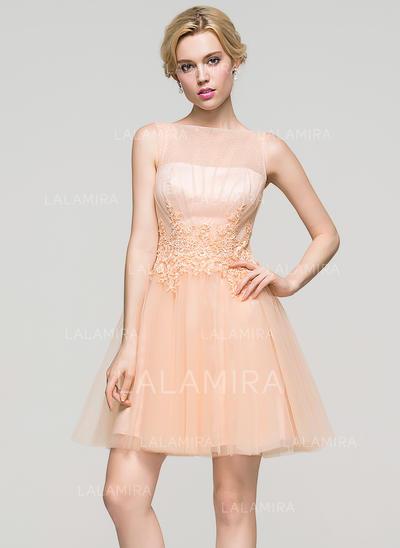 Tule Alças largas regulares Vestidos princesa/ Formato A Decote redondo Vestidos de boas vindas (022214117)