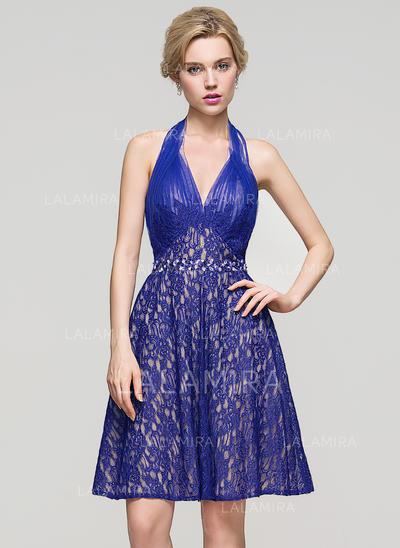 Renda Alças largas regulares Vestidos princesa/ Formato A Cabresto Vestidos de boas vindas (022214128)