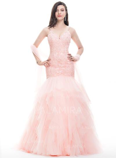 Trompete/Sereia Decote V Sweep/Brush trem Tule Renda Vestido de baile com Beading (018105560)