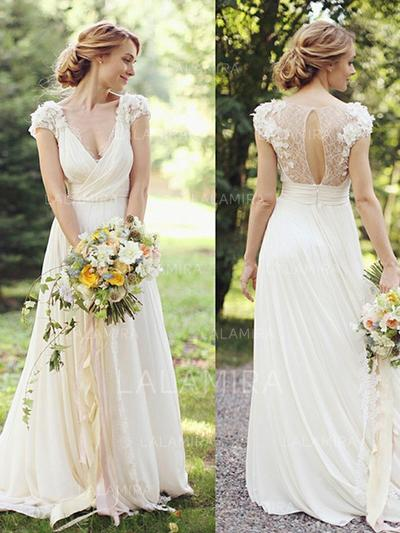 Deep V Neck A-Line/Princess Wedding Dresses Chiffon Ruffle Lace Short Sleeves Floor-Length (002213518)