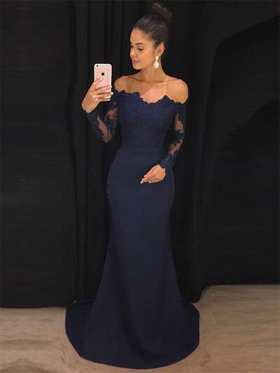 Trumpet/Mermaid Off-the-Shoulder Sweep Train Prom Dresses With Lace (018218663)