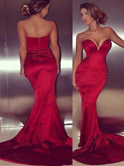 Sexy Trumpet/Mermaid Satin Prom Dresses (018210379)