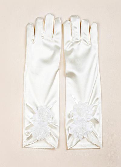 Elastic Satin Children's Gloves Flower Girl Gloves Fingertips S:28cm/M:32cm Gloves (014192014)