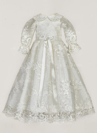 Peter Pan Collar Floor-length Lace Christening Gowns (2001217390)