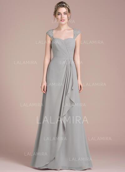 A-linjainen/Prinsessa Lattiaa hipova pituus Sifonki Pitsi Morsiusneitojen mekko jossa Laskeutuva röyhelö (007104709)