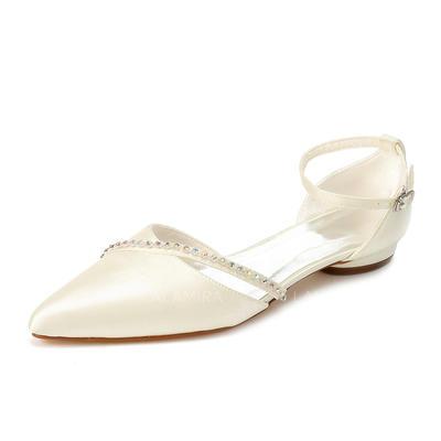 Women's Closed Toe Flats Low Heel Satin With Rhinestone Wedding Shoes (047204855)