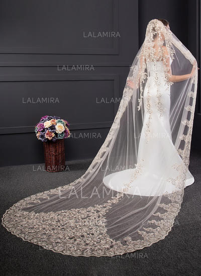 Chapel Bridal Veils One-tier Classic With Lace Applique Edge With Sequin/Lace Wedding Veils (006152544)