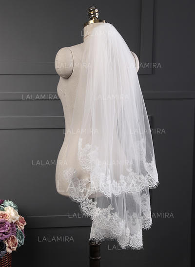 Fingertip Bridal Veils Tulle/Lace Two-tier Classic With Lace Applique Edge Wedding Veils (006152328)