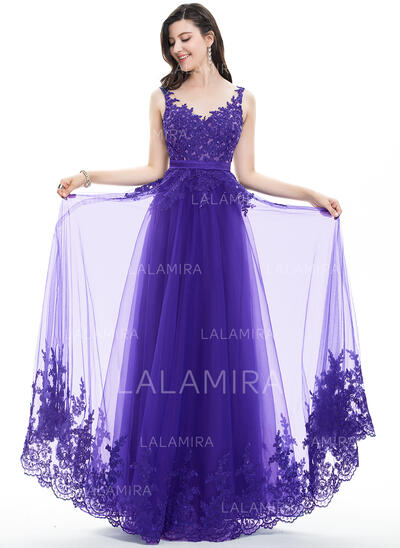 A-Line/Princess V-neck Floor-Length Tulle Lace Prom Dresses With Beading Sequins Bow(s) (018105704)