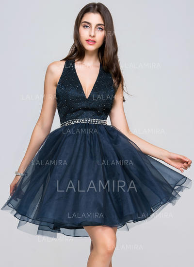 Beading Sequins Halter Tulle Lace A-Line/Princess Homecoming Dresses (022214038)