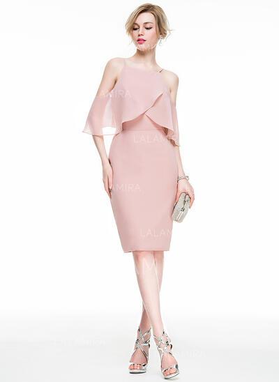 Sheath/Column Square Neckline Knee-Length Chiffon Cocktail Dress With Cascading Ruffles (016083915)