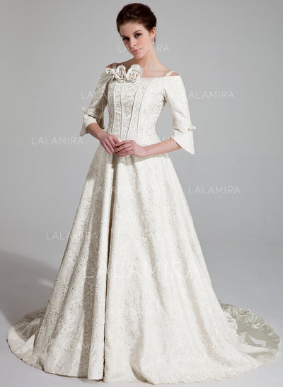 Ruffle Beading Flower(s) Off-The-Shoulder Satin A-Line/Princess Wedding Dresses (002196903)