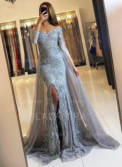 Lace 3/4 Sleeves Trumpet/Mermaid Evening Dresses Court Train (017145728)