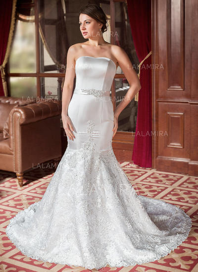 Trumpet/Mermaid Beading Sequins Bow(s) Satin Lace Chapel Train Three-dimensional Wedding Dresses (002000063)