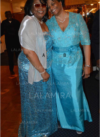 Forme Princesse Col V Satiné Luxueux Robes mère de la mariée (008212780)